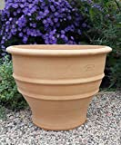 Kreta-Keramik terracotta Pflanzgefäß, 45 cm handgemacht und frostfest Blumenkübel für Außen Garten Terrasse Buxus