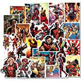 [40] Autocollant Lot, Marvel Super Héros Deadpool Ordinateur Stickers pour Bouteilles d'eau, Stickers muraux en Vinyle pour Ordinateur Portable Skateboard Bagages Autocollant Graffiti Patchs Stickers