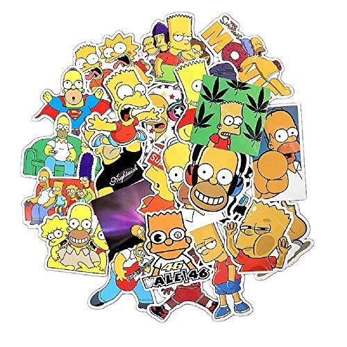 ⭐Top Aufkleber! ⭐ Set von 24 The Simpsons Aufkleber Premium Qualität - Vinyls Stickers Nicht Vulgär - Fashion, Stil, Bombe, Graffiti - Anpassung Laptop, Gepäck, Motorrad, Fahrrad, Skateboard