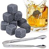 Lictin 9 Stück Whisky Steine Eiswürfel Kühlsteine Whisky Stones aus Natürlichem Speckstein Wiederverwendbare