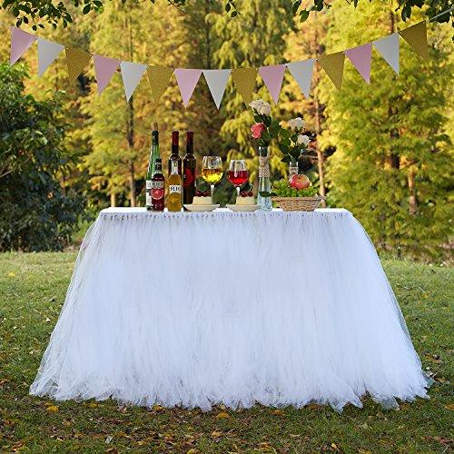 ck, verbessert, handgefertigt Tutu-Otik, Tüll, Umrandung für Tische, Schürze, für Hochzeiten / Weihnachten / Neujahrsfeiern / Valentinstag / Babypartys / Geburtstage, Tüll, weiß, 47 inch *32 inch (Weiß Tüll)