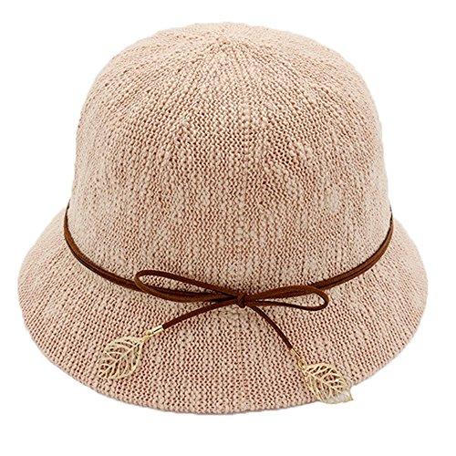 Chapeau de pêcheur Chapeau Cloche Dames Filles Bowknot De plein air Plage Été Chapeau de soleil Rose