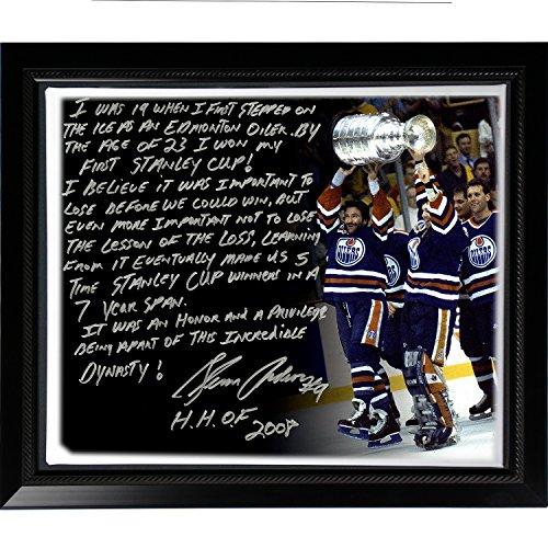 Dynastie Frame (Steiner Sports NHL New York Rangers Gerahmte Leinwand mit Glenn Anderson Facsimile Oilers Dynasty, 56 x 26 cm)