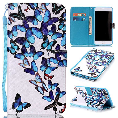 Price comparison product image For iPhone 7 Plus (5, 5 zoll) Leather Flip Case Cover, Ecoway Colorful Painted PU Leather Stand Function Protective Cases Covers with Card Slot Holder Wallet Book Design, Soft TPU Silicone Inner Bumper Full Protection Detachable Hand Strap for iPhone 7 Plus (5, 5 zoll) - Group butterfly