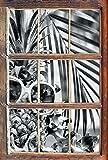 Stil.Zeit Monocrome, Ananas Urlaubsfeeling mit Sonnenbrille Fenster im 3D-Look, Wand- oder Türaufkleber Format: 92x62cm, Wandsticker, Wandtattoo, Wanddekoration