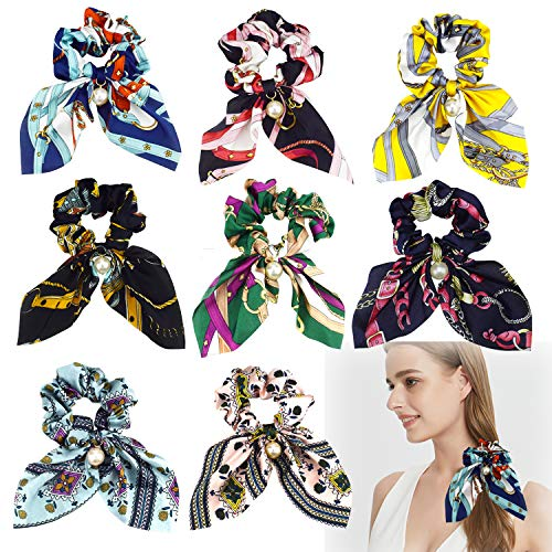8 elastici per capelli in chiffon di seta con perle, per coda di cavallo, accessori per capelli per donne e ragazze