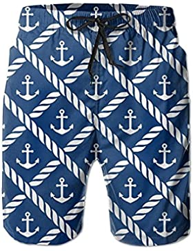 Navy Anchor Chevron Men's/Boys Casual Swim Trunks Short Elastic Waist Beach Pants with Pockets