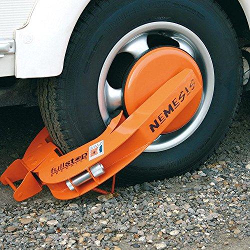 Reifenkralle Profi Orange für Räder bis max Reifenbreite von 235 mm Maximum Reifen Durchmesser 72 cm mit Schloss
