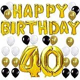 KUNGYO Letras Tipo Balón Doradas HAPPY BIRTHDAY+Número 40 Mylar Foil Globo+24 Piezas Negro Oro Blanco Globo de Látex- Perfecta 40 Años de Antigüedad Fiesta de Cumpleaños Decoraciones