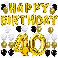"""Queste decorazioni di festa di compleanno sono perfette per creare una buona atmosfera. Il pacchetto include: """"Happy Birthday"""" lettere d'aria d'oro (16 pollici/40CM Alti) """"40"""" Numero palloncino (40 pollici/100CM Alti) 24 Pezzi Latex Ballon (c..."""