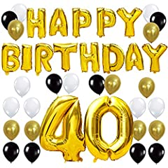 Idea Regalo - KUNGYO Happy Birthday Lettere Alfabeto Balloon+Numero 40 Mylar Foil Palloncini+24 Pezzi Oro Bianco Nero Lattice Balloons- Perfetto per Decorazioni di Festa di Compleanno di 40 Anni