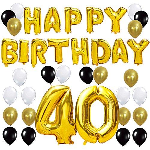 KUNGYO Letras Tipo Balón Doradas Happy Birthday+Número 40 Mylar Foil Globo+24 Piezas Negro Oro Blanco Globo de Látex 40 Años de Antigüedad Fiesta de Cumpleaños Decoraciones