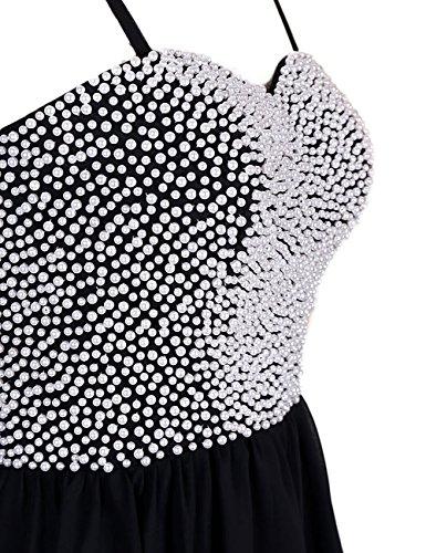 Dressystar Robe femme, Robe de soirée/de bal à bretelle,perlée,courte en Mousseline Blanc