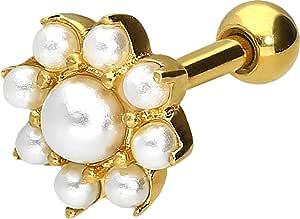PIERCINGLINE - Piercing per orecchio in acciaio chirurgico, 9 perle sintetiche, colore a scelta