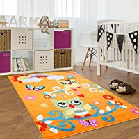 Carpet City Kinderteppich, Teppich Flachflor Für Kinderzimmer Mit Bunten  Eulen Motiv In Orange,