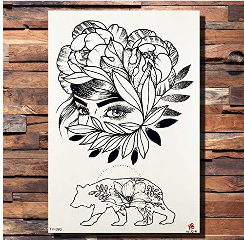 ruofengpuzi Rose Daisy Pfingstrose Muster Temporäre Tätowierung Aufkleber Kamelie Schwarz Bleistift Skizze Tattoo Body Art Sommer Stil Gefälschte Tätowierung ()