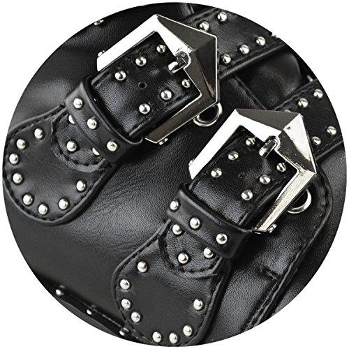 Mode Soif Nouvelles Femmes Bouclés Boucle Bottes Cheville Chelsea Biker Punk Avec Épaules Taille Cuir Noir / Argent Goujons