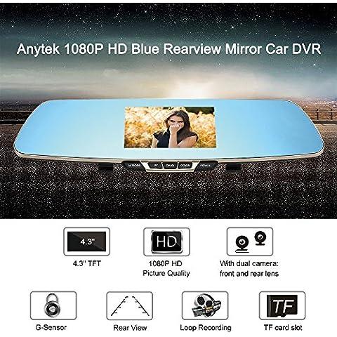 Anytek Vídeo T6 1080P HD Azul Espejo Retrovisor del Coche DVR de la Rociada Cámara Dual Doble Lente de la Cámara