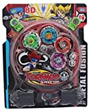 #9: Triton Retails 4 Beyblade Set With Ripchord Launcher And Assembly Tool, stadium included, Clash Tornado Speedtop, 8D design