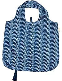 B.b.begonia Pocket Full Of Posies Reusable Shopping Bag, Blue And White Zig Zag