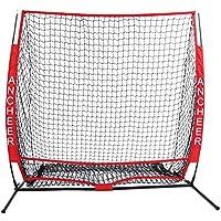 AIMADO 5x5 Softball de Béisbol Portátil de Practica Bateo con Bolsas de Transporte, Play Training Net Red