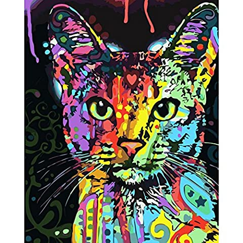 Onezi DIY Oil Painting Paint By Number Kit- Painted Cat 16x20 inch