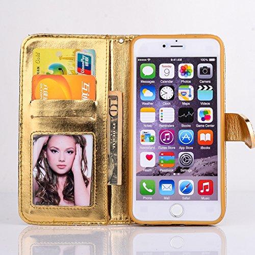 iPhone 6 Plus / 6s Plus Coque, SsHhUu Luxe Bling brillant Premium PU Cuir Bling diamant bouton Pochette Stand Flip Protecteur Étui Housse Case Cover pour iPhone 6 Plus / 6s Plus (5.5 pouce) Or Or