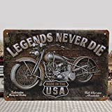 KING DO WAY ''Legends Never Die'' Plaque en métal Plaque métal Rétro Déco 30 X 20cm