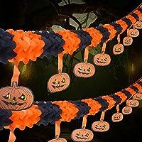 2 Packs Orange Pumpkins Bunting Banner 4M Halloween Garlands Party Decoration Indoor Outdoor Accessories