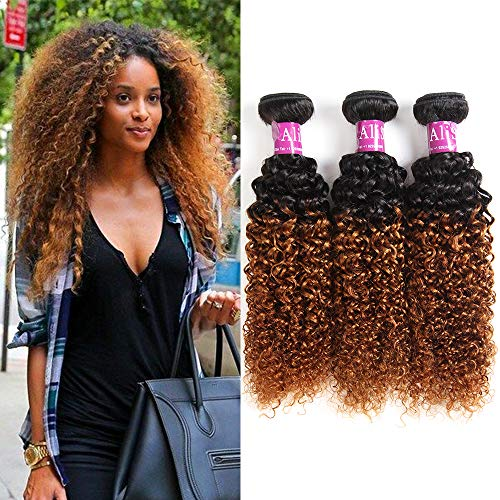 Ombre brazilian curly hair 3bundles human hair extensions 2tone ombre brazilian kinkys curly virgin hair weave t1b/30color