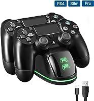 PICTEK Cargador Mando PS4, DualShock 4 Controller Playstation 4 Estación de carga PS4, Soporte Cargador con pantalla LED...