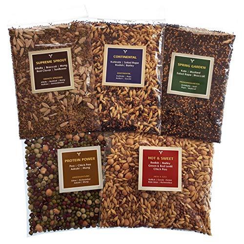 Seedelicious Delight Bio-Sprossen-Samen - Mix aus 15 Gemüse-Samen mit Alfalfa, Rettich, Erbsen, Brokkoli - Schnell wachsendes Superfood für besonders gesunde Ernährung |5 vorgemischte Päckchen |500g -