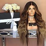 ZiQE 28'peluca rizada larga peluca de pelo sintética marrón para...