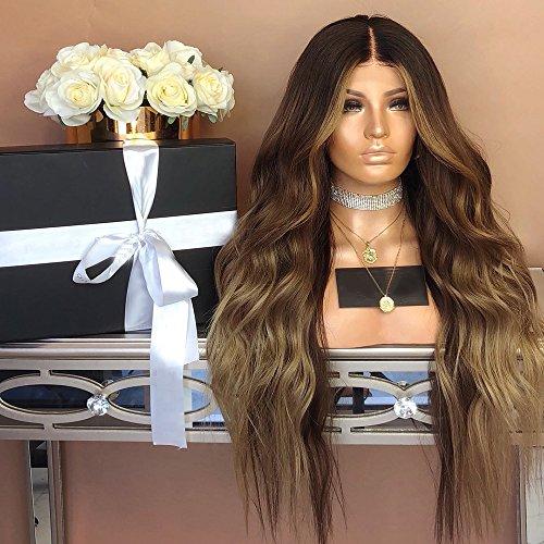 ellte Hellbraun Perücke hitzebeständige Kunstfaser Kunsthaar Perücke Heat Resistant Wigs für Frauen 28'' ()