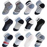 Lictin Baby Socks Non Skid Socks - 12 Pairs Boys Girls Assorted Colored Socks, 0-1 Year Blue/White/Black Boys Sock