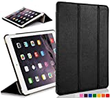 Forefront Cases® Apple iPad Air (1st Generation 2013) Hülle Schutzhülle Tasche Bumper Folio Smart Case Cover Stand - Ultra Dünn Leicht mit Rundum-Geräteschutz und intelligente Auto Schlaf / Wach Funktion (SCHWARZ)