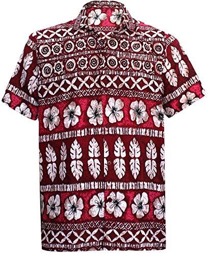 La Leela likre hawaiische Hibiskus-Blumen lässigen Strandlager Hemd rot XL (Hibiskus La Leela)