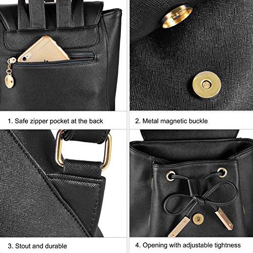 Vbiger Damen Rucksack Elegant Damen Daypack Schultertasche Schwarz Reiserucksack -