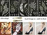 Henna Tattoo Schablone Vorlage 10 Sheet + 2 Henna Golecha Kegel Farbe schwarz Mahal 10 Henna Bemalung