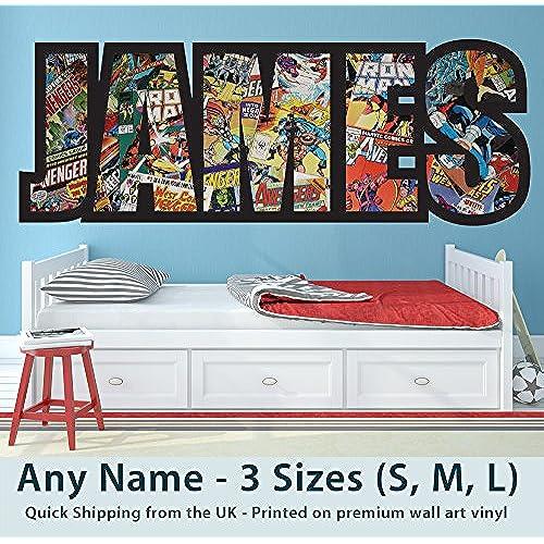 Childrens Name Wall Stickers For Boys/Girls/Kids Bedroom   Any Name In  Marvel Avengers Superhero, Captain America, Spiderman, Thor, Hulk Design  Wall ...