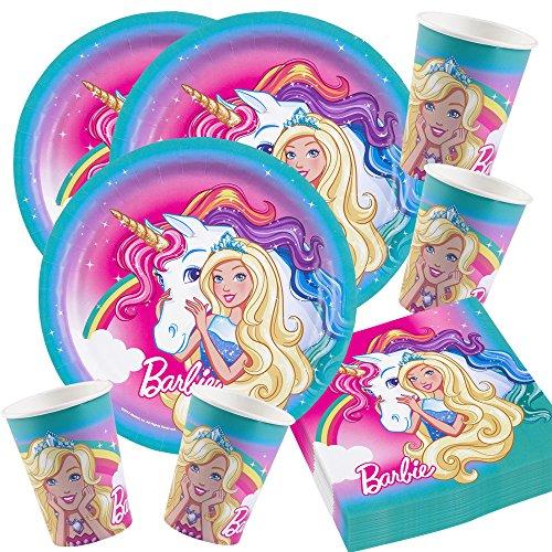 s Party-Set Barbie Dreamtopia mit Einhorn - Teller Becher Servietten für 16 Kinder ()