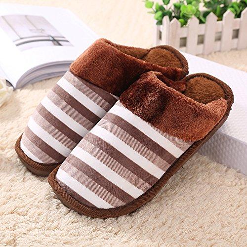 LaxBa Donna Uomo Indoor pattino antiscivolo pantofole Le strisce di colore marrone
