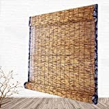 Koovin Bambus-Rollos, natürlicher Reed-Vorhang, Retro-dekorative Wasserdichte, Wasserdichte Jalousien, 90x180 cm