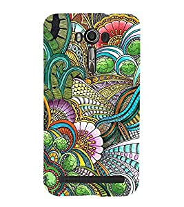 FUSON Floral Greeting In Vintage Green 3D Hard Polycarbonate Designer Back Case Cover for Asus Zenfone 2 Laser ZE500KL (5 Inches)