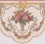 Pink Roses in Töpfen Vintage Floral Viktorianische Tapete Bordüre Retro Design, Rolle 15'x 16,5cm