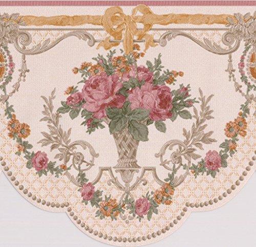 Pink roses in vasi vintage floreale bordo carta da parati vittoriano design retrò, roll 15'x 16,5cm