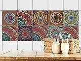 GRAZDesign 770351_15x15_FS10st Fliesenaufkleber Mandala Bunt | Fliesen Zum überkleben im Bad und Küche | Braun - Rot - Orange Mosaik | Wandfliesen-Aufkleber Selbstklebend (15x15cm//Set 10 Stück)