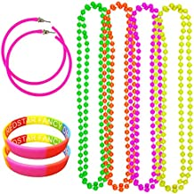 NEON PARTY 80S EARRINGS 4 PACK NEON NECKLACE BEADS AND MULTICOLOURED WRISTBANDS - RAVE DISCO HEN FANCY DRESS SET