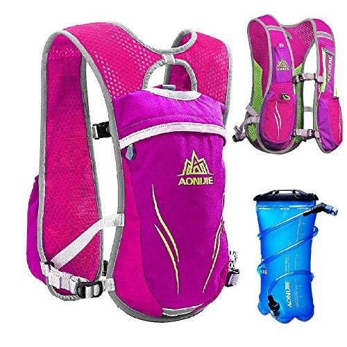 TRIWONDER Trinkrucksack Rucksack 5.5L im Freien Mochilas Trail Marathoner Laufrennen Trinkweste (Rose Red - mit 2L TPU Wasserblase)