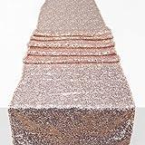 Drcosy sirena paillettes runner glitter e paillettes tovaglia per feste di compleanno, matrimonio celebrazione Décor (275*30cm), Poliestere, Rose Gold, 275*30cm
